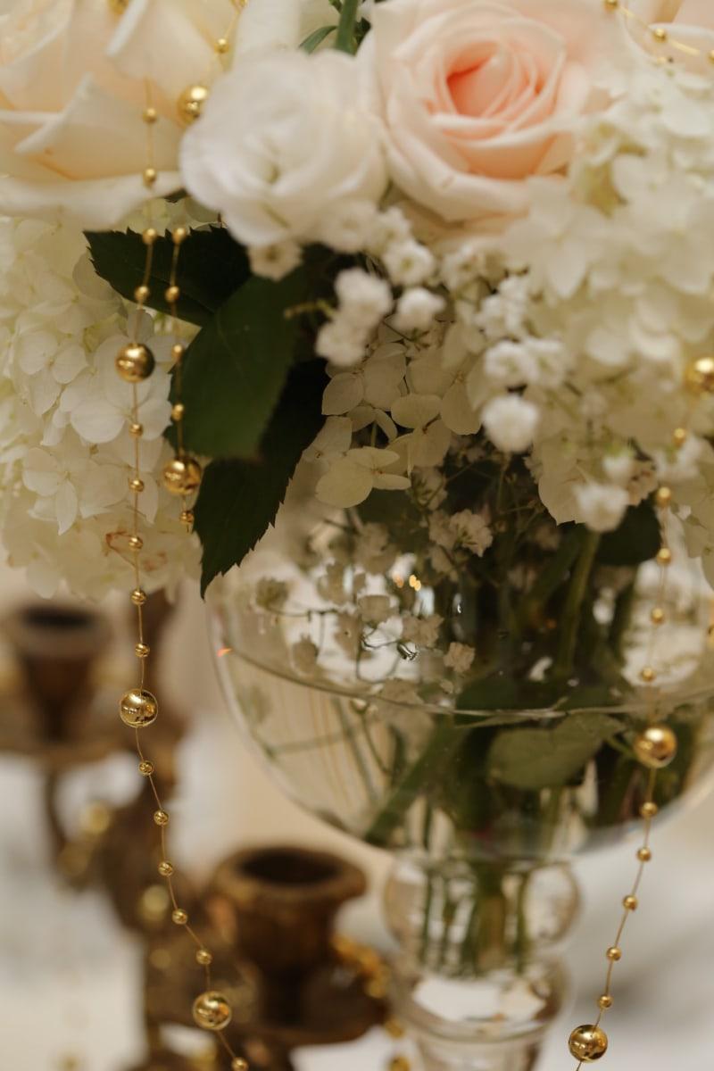 elegance, golden glow, green leaves, romance, vase, water, white flower, rose, wedding, chandelier