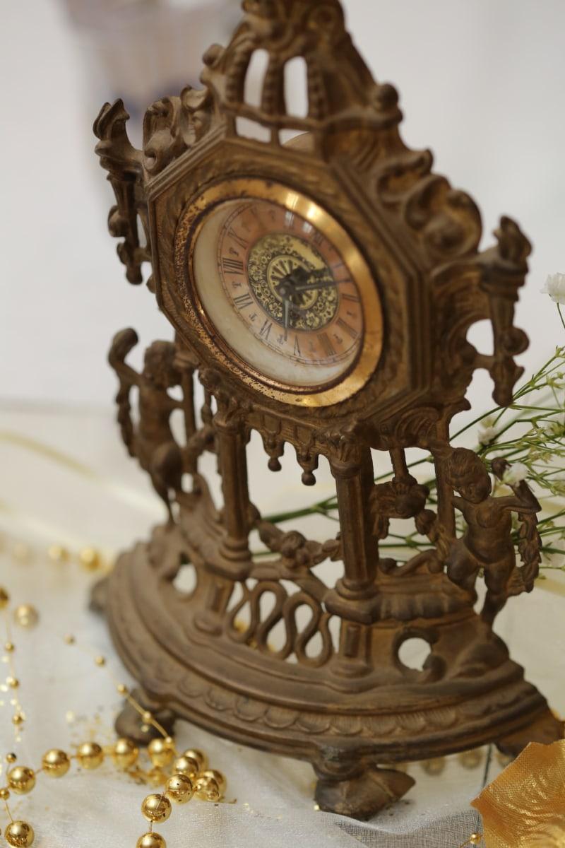 analog clock, antiquity, baroque, bronze, handmade, heritage, metal, antique, device, old