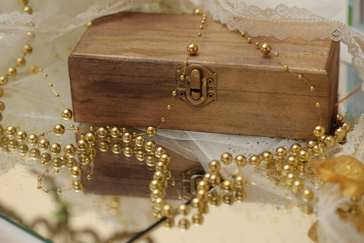 мъниста, кутия, подаръци, бижута, огледало, отражение, лукс, блестящ, закопчалка, Злато