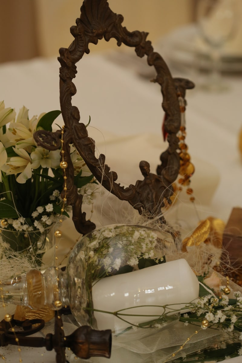antiquity, baroque, bouquet, brass, candle, flowers, mirror, vase, wedding, flower