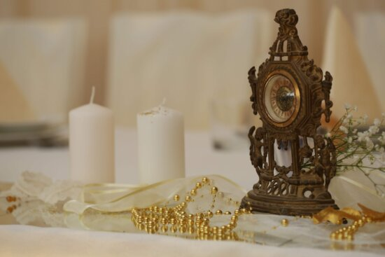 analog clock, art, candles, gold, interior decoration, jewelry, necklace, pears, sculpture, candle