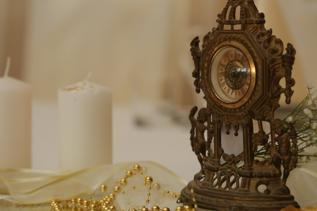 analog clock, bronze, candles, fine arts, golden glow, jewelry, necklace, pears, sculpture, clock