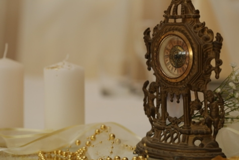 analog clock, bronze, candles, fine arts, golden glow, jewelry, necklace, pears, sculpture, clock