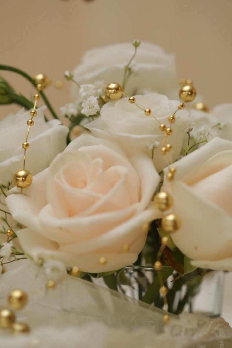 perler, bukett, dekorasjon, gyllen glød, smykker, bryllup bukett, blomst, romantikk, steg, luksus