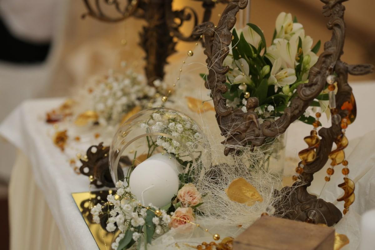 kytice, mosaz, bronz, svíčka, dekorace, elegance, výzdoba interiéru, luxusní, zrcadlo, zátiší