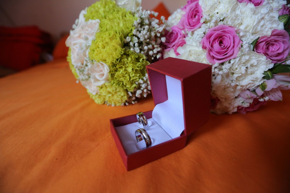 bed, bedroom, blanket, box, wedding bouquet, wedding ring, decoration, love, bouquet, wedding