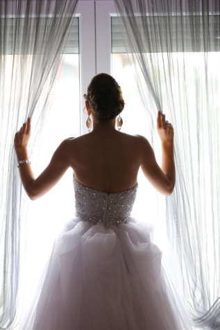 curtain, hairstyle, jewelry, lady, skirt, wedding, wedding dress, window, bride, dress