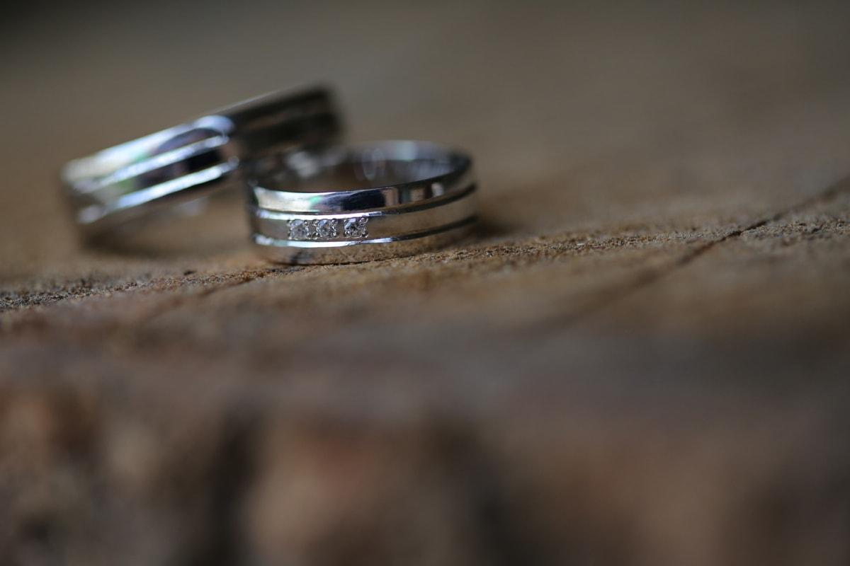 strålende, nært hold, platina, ringer, giftering, Blur, fortsatt liv, stål, tre, fokus