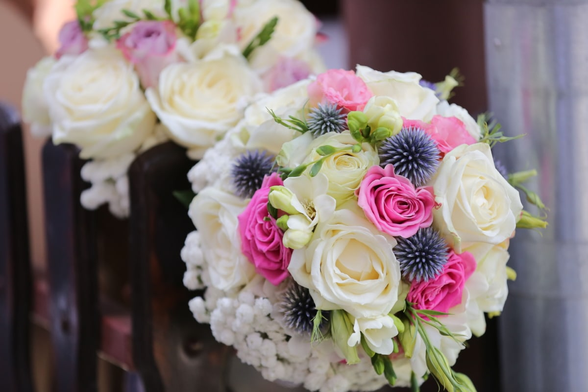 bouquet, picket fence, wedding bouquet, love, romance, decoration, wedding, flowers, rose, flower