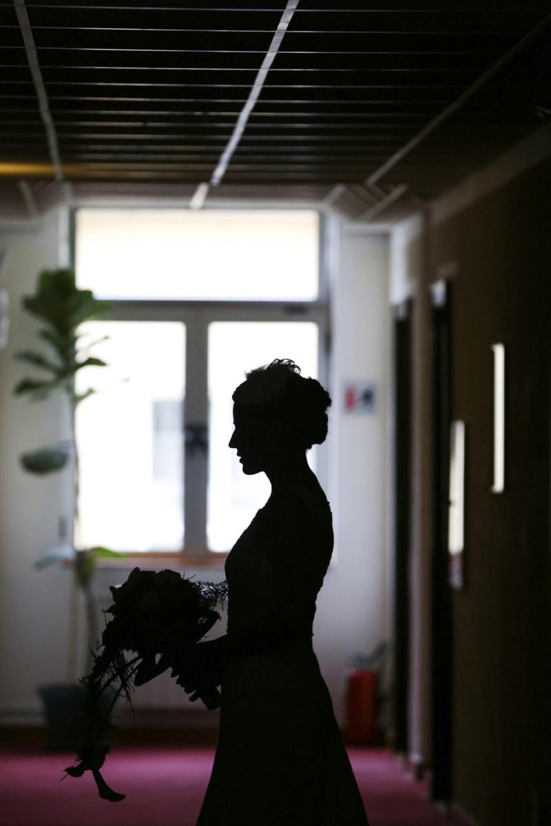 portrait, salon, shadow, silhouette, wedding, wedding bouquet, wedding dress, indoors, girl, light