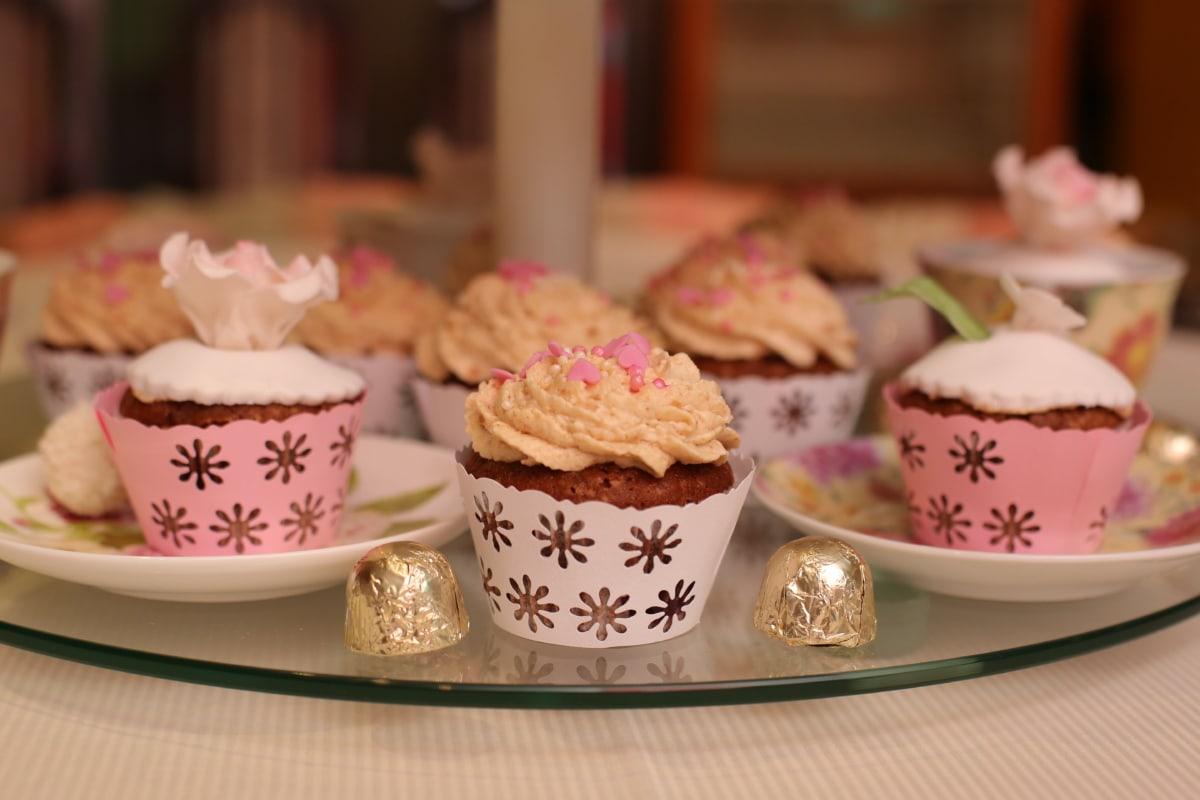 candy, chocolates, cupcake, dessert, golden glow, porcelain, plate, food, cake, cup