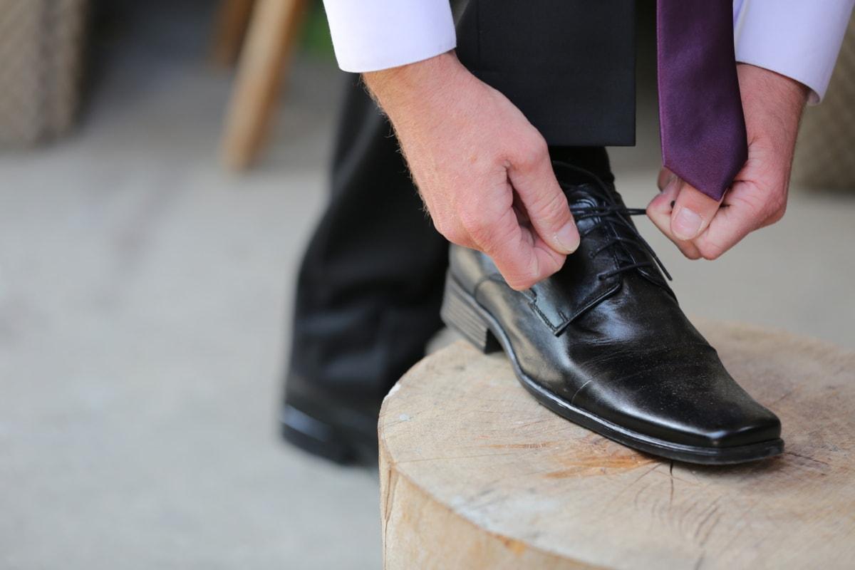 elegance, fashion, hands, leather, pants, shoe, shoelace, tie, shoes, clothing