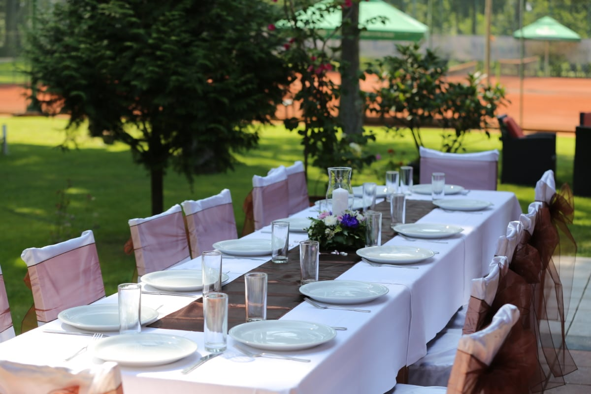 dining area, lunch, manifestation, table, tablecloth, chair, patio, dining, cutlery, tableware