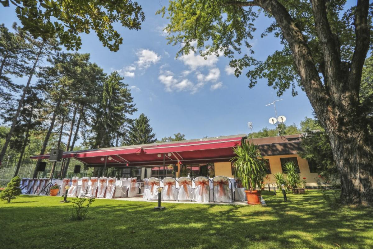ceremony, exterior, park, restaurant, house, architecture, tree, building, home, structure