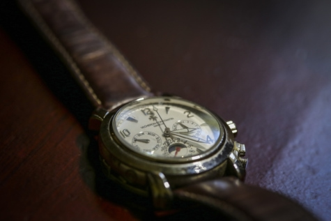 accessory, analog clock, close-up, leather, old fashioned, shadow, style, tile, wristwatch, timepiece