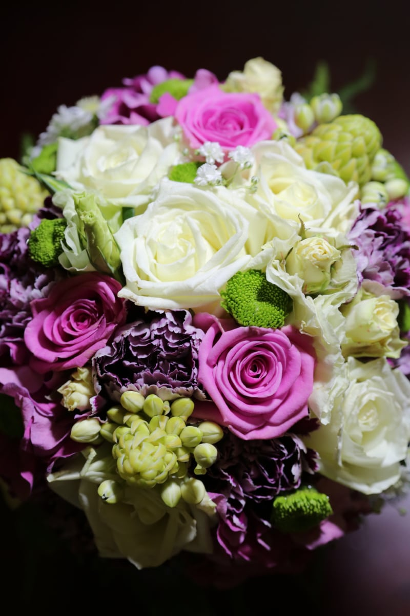 rózsaszínes, romantika, Rózsa, árnyék, szimbólum, esküvő, esküvői csokor, fehér virág, szerelem, elrendezése