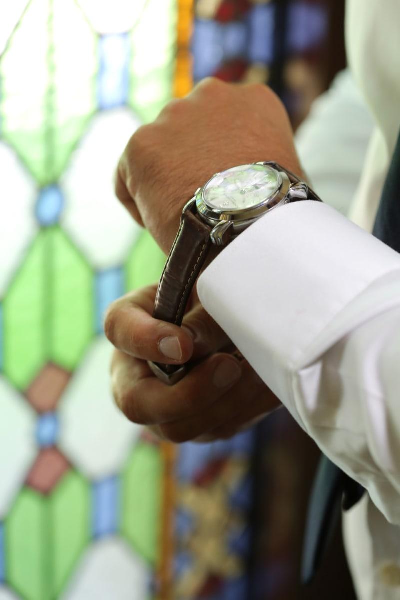 accessory, analog clock, businessman, businessperson, elegance, fashion, hand, leather, shirt, style