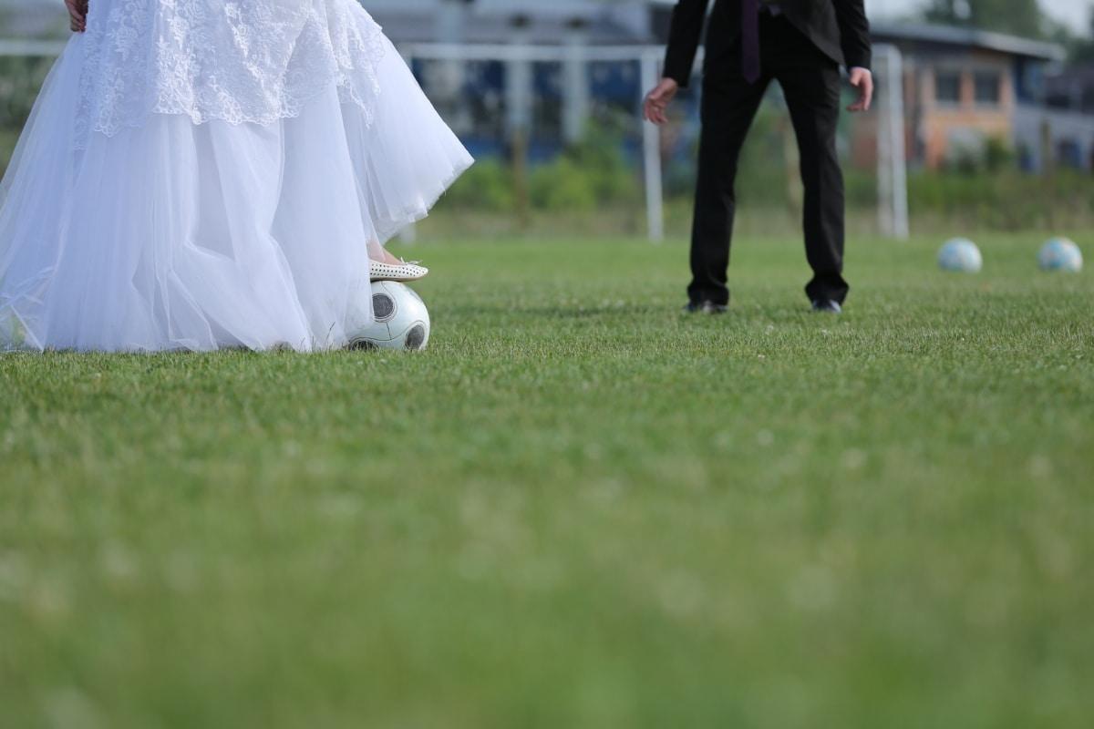 ball, bride, football, football player, game, groom, sport, wedding, wedding dress, competition