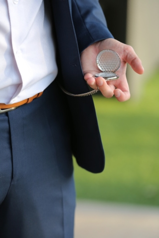 analog clock, businessman, businessperson, clock, elegance, fashion, hand, pants, silver, suit
