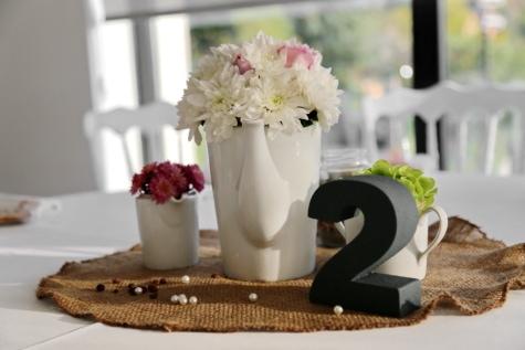 cafeteria, dining area, interior decoration, lunchroom, number, pitcher, restaurant, tablecloth, vase, jar