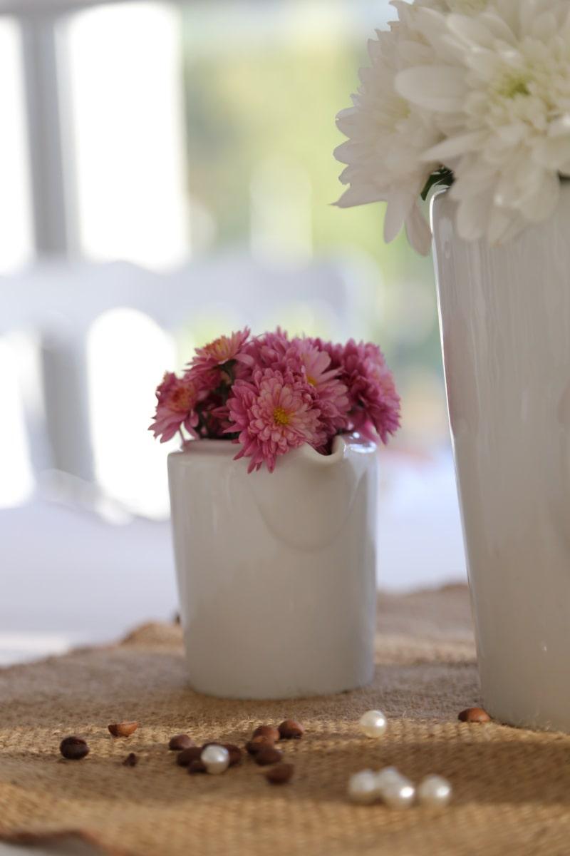 beads, elegance, flower, pinkish, porcelain, reflection, vase, white, white flower, container
