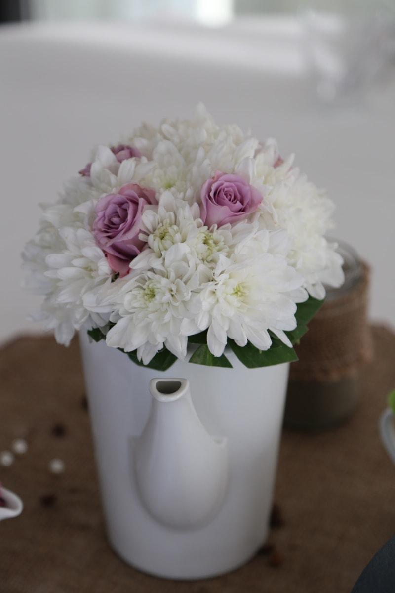 bouquet, ceramics, interior decoration, pink, porcelain, roses, vase, white flower, flower, arrangement