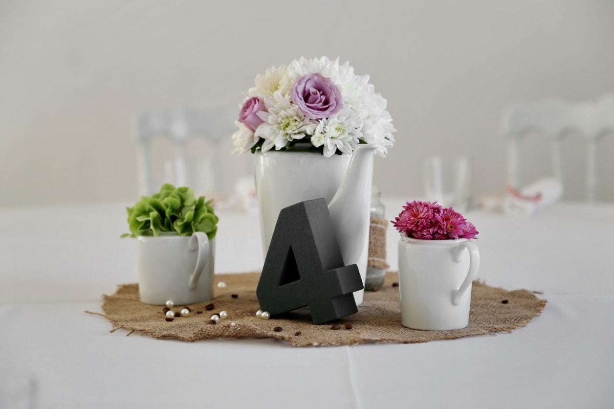 安排, 束, 餐饮区, 优雅, 餐厅, 杯, 投手, 瓷, 桌布, 花瓶