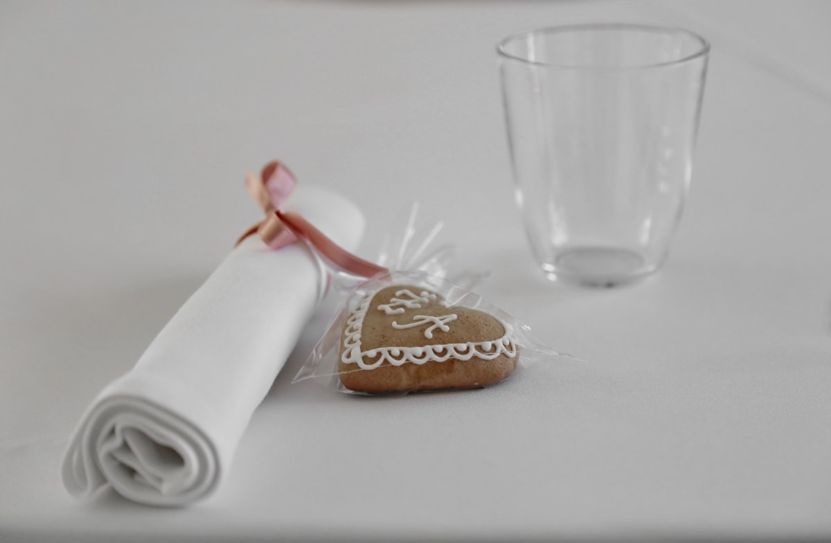 cookie, glass, napkin, package, romance, romantic, tablecloth, food, breakfast, container
