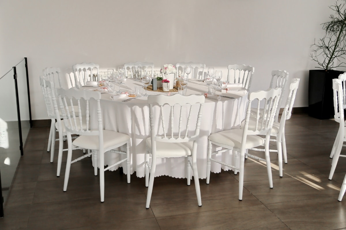 chairs, dining area, empty, luxury, white, chair, table, furniture, interior, dining