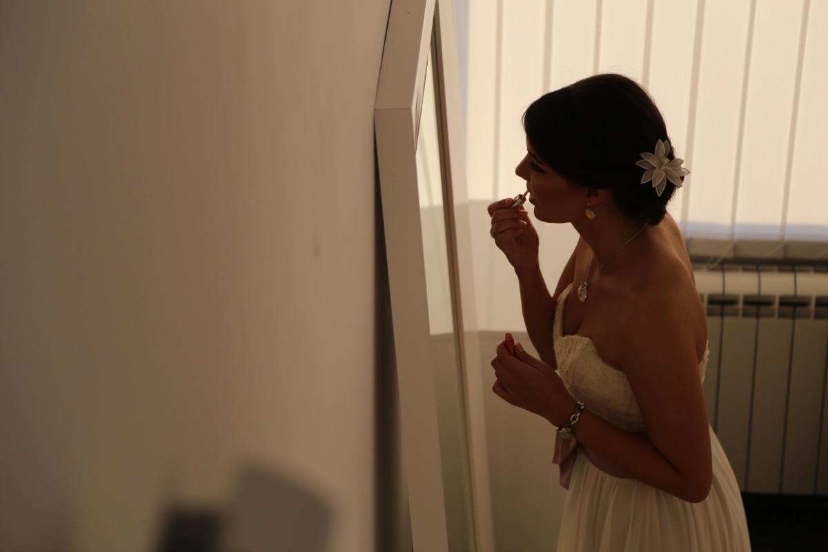 bride, gorgeous, hairstyle, lipstick, mirror, portrait, pretty girl, shoulder, wedding, wedding dress