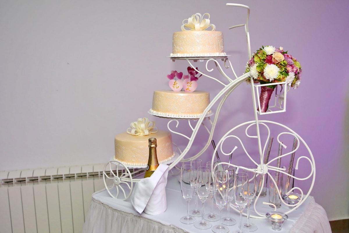 champagne, decoration, glasses, wedding bouquet, wedding cake, white wine, interior design, wedding, celebration, flower
