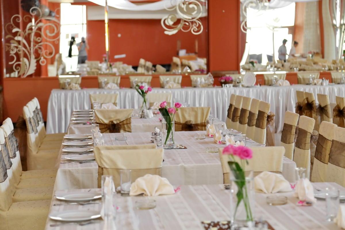 celebration, chairs, dining area, empty, manifestation, mirror, napkin, tablecloth, interior design, table