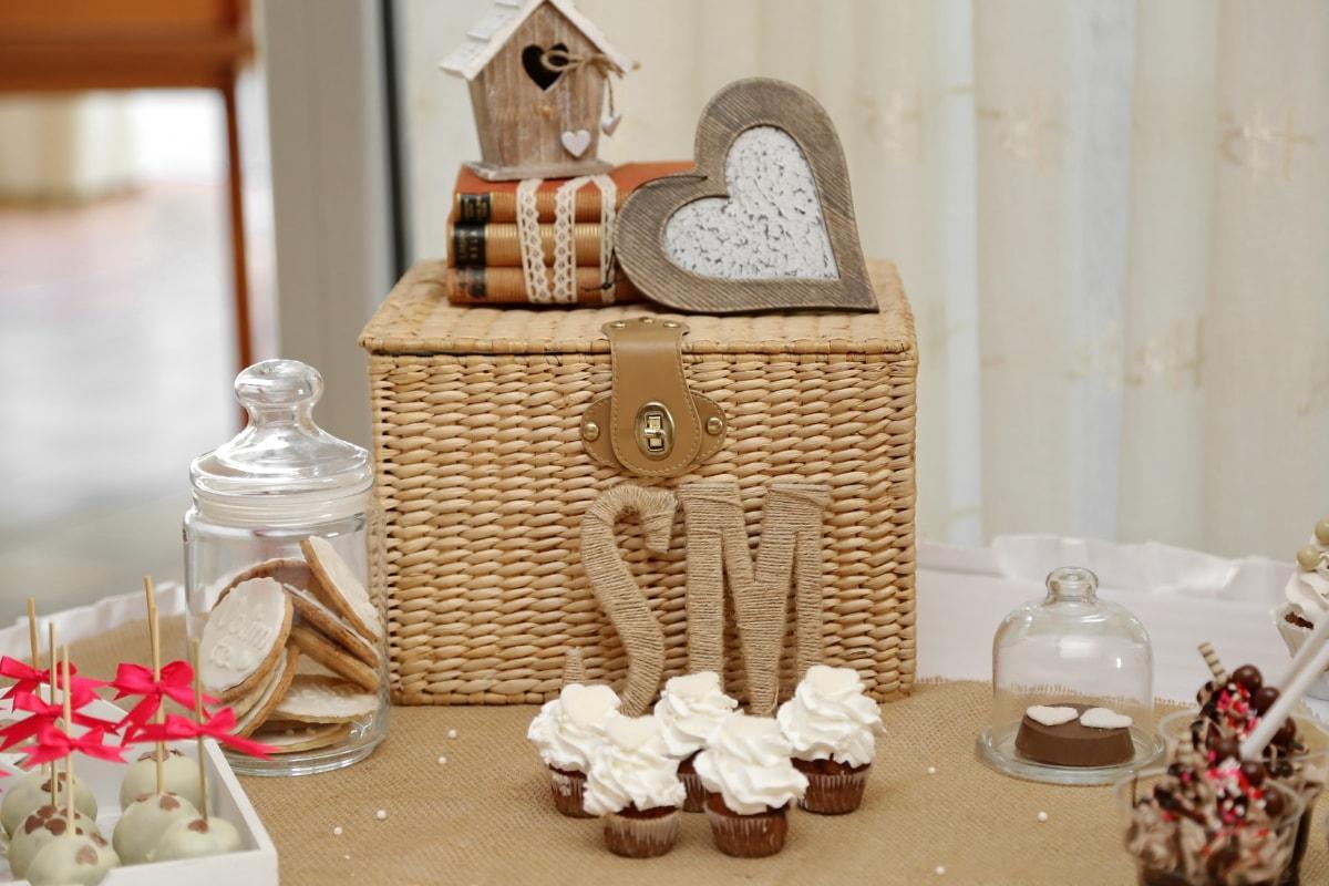 デザート, 食品, 手作り, 室内装飾, jar, ランチルーム, ロマンチックです, おいしい, 籐のバスケット, インテリア デザイン
