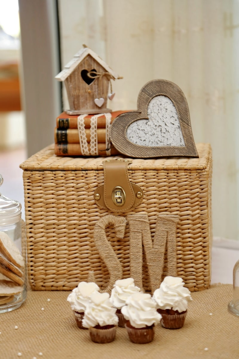 books, heart, interior decoration, romantic, wicker basket, wood, still life, food, decoration, homemade