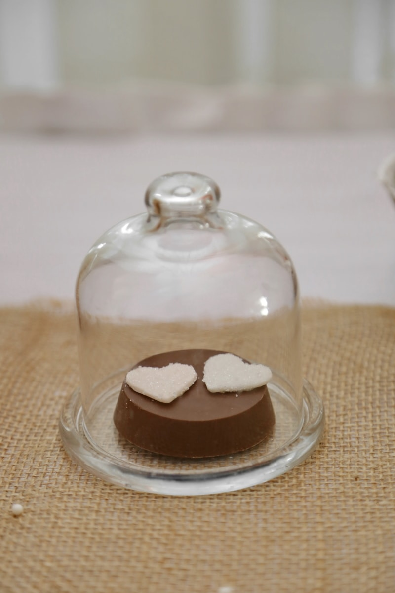 bell, cookies, crystal, decoration, glass, hearts, still life, food, indoors, sugar
