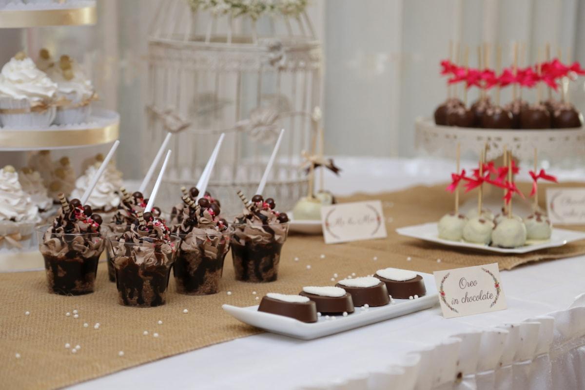 banquet, candy, cookies, icecream, lollipop, tablecloth, tableware, chocolate, sugar, sweet