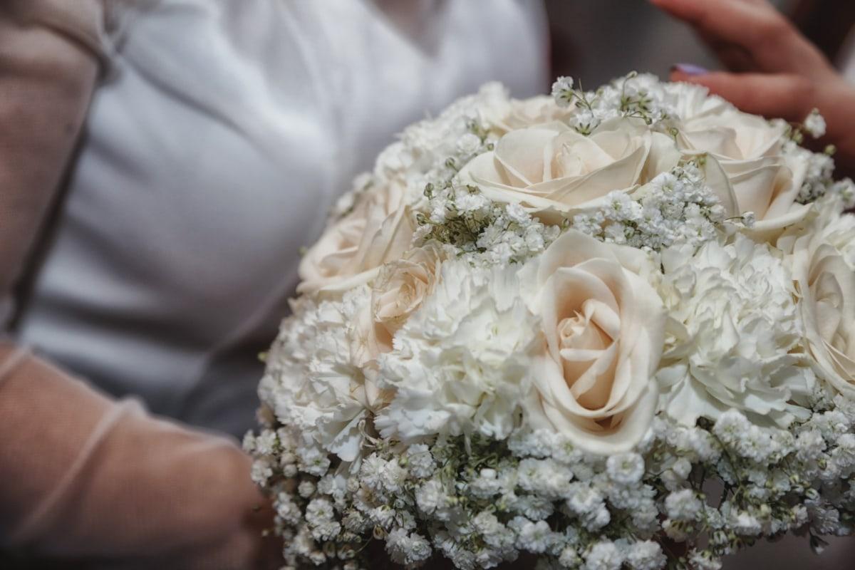 dress, elegance, roses, silk, wedding, wedding bouquet, white, rose, bride, love