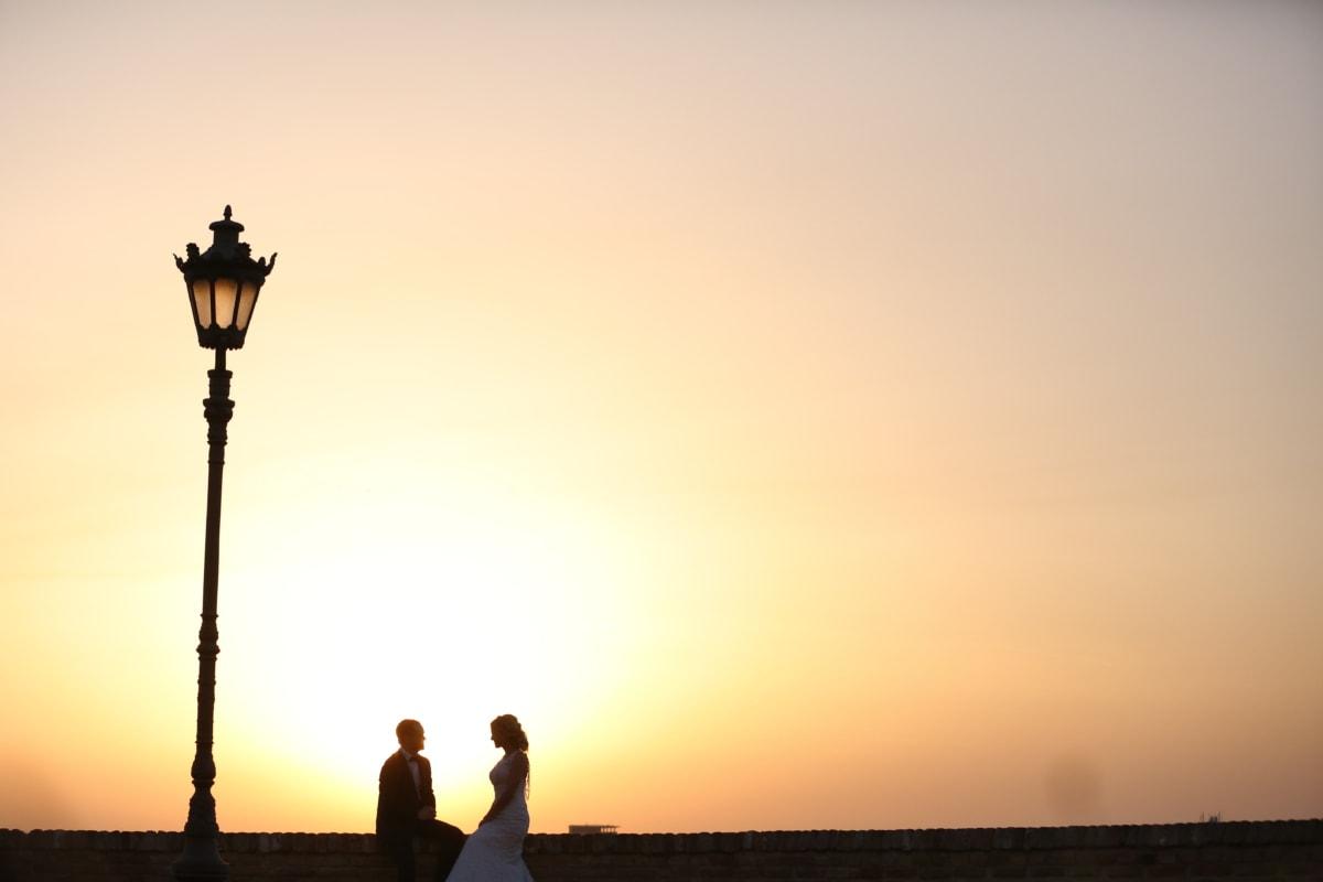 backlight, bride, lamp, man, marriage, sunlight, sunset, dawn, sunrise, silhouette