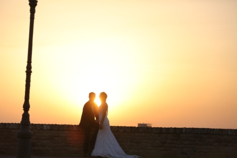 backlight, bride, husband, sunset, sunspot, wedding dress, romance, wedding, silhouette, sun