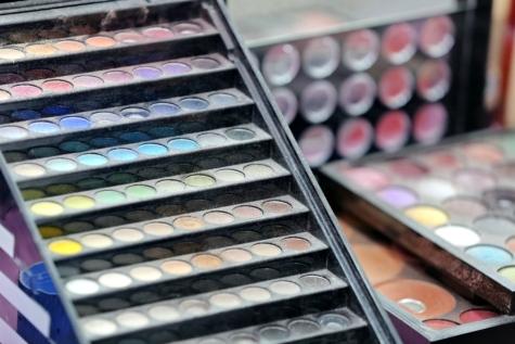 colorido, cores, cosméticos, maquiagem, em pó, paleta, moda, mercadoria, coleção, escova