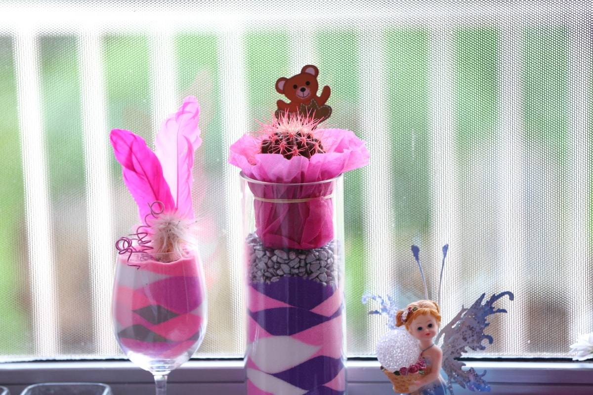 cactus, colorful, decoration, feather, glass, interior decoration, toy, window, vase, flower