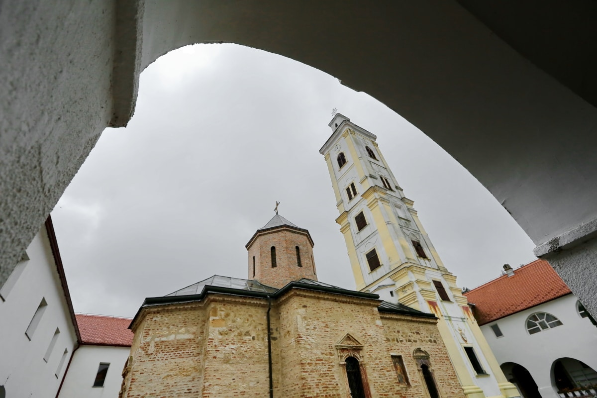 arch, church tower, monastery, perspective, church, tower, religion, building, architecture, cathedral