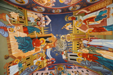 cathedral, ceiling, chandelier, christianity, colorful, fine arts, monastery, mural, saint, equipment