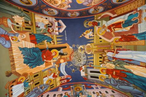 大聖堂, 天井, シャンデリア, キリスト教, カラフルです, ファイン アーツ, 修道院, 壁画, サン, 備品