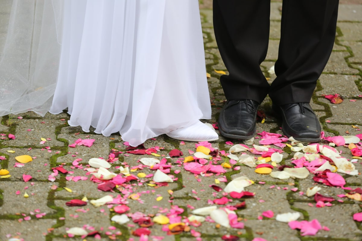 ceremony, pants, pavement, petals, roses, shoelace, skirt, walking, wedding, wedding dress