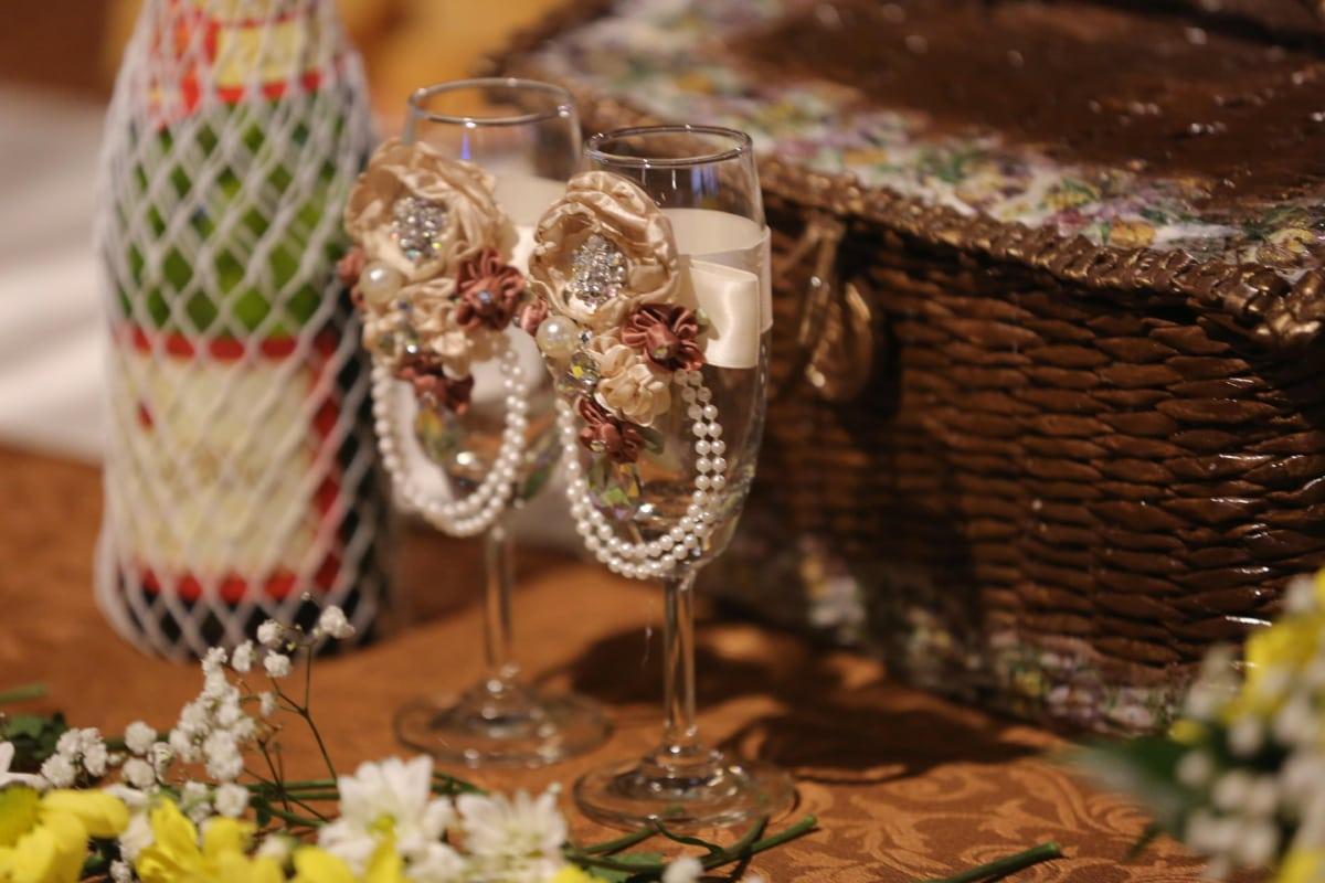 arrangement, bottle, champagne, crystal, fancy, glass, luxury, party, wicker basket, wine