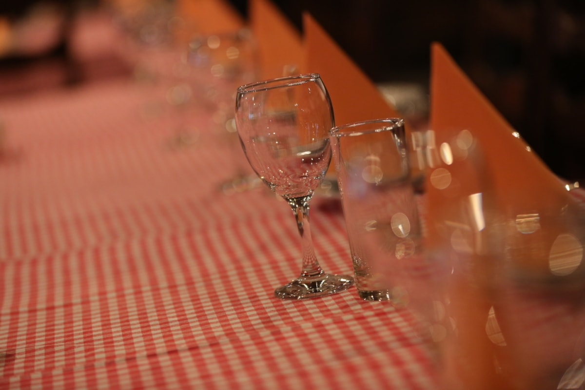 crystal, dining area, glasses, glassware, tablecloth, dining, drink, glass, alcohol, table