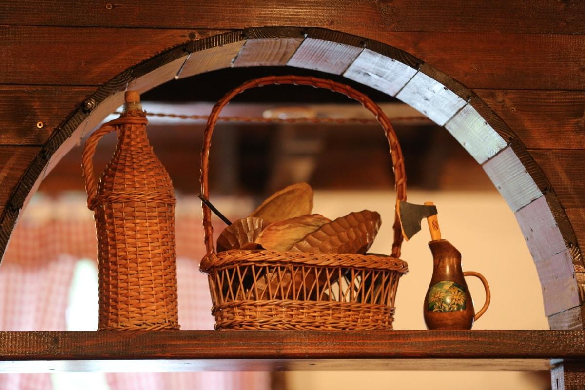 láhev, ručně vyráběné, výzdoba interiéru, staré, džbán, police, váza, proutěný koš, dřevěný, výrobek