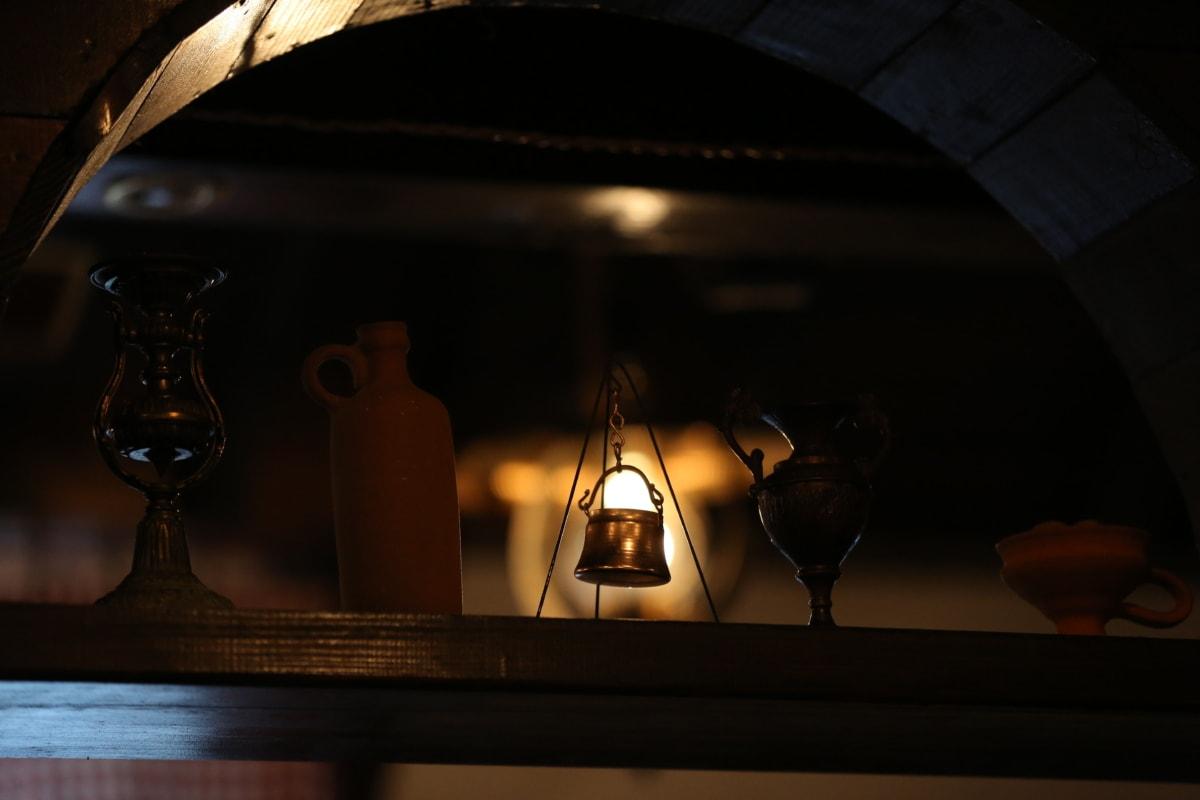 taustavalaistu, kattokruunu, sisustus, syöttäjä, hylly, maljakko, valo, varjossa, lamppu, huone