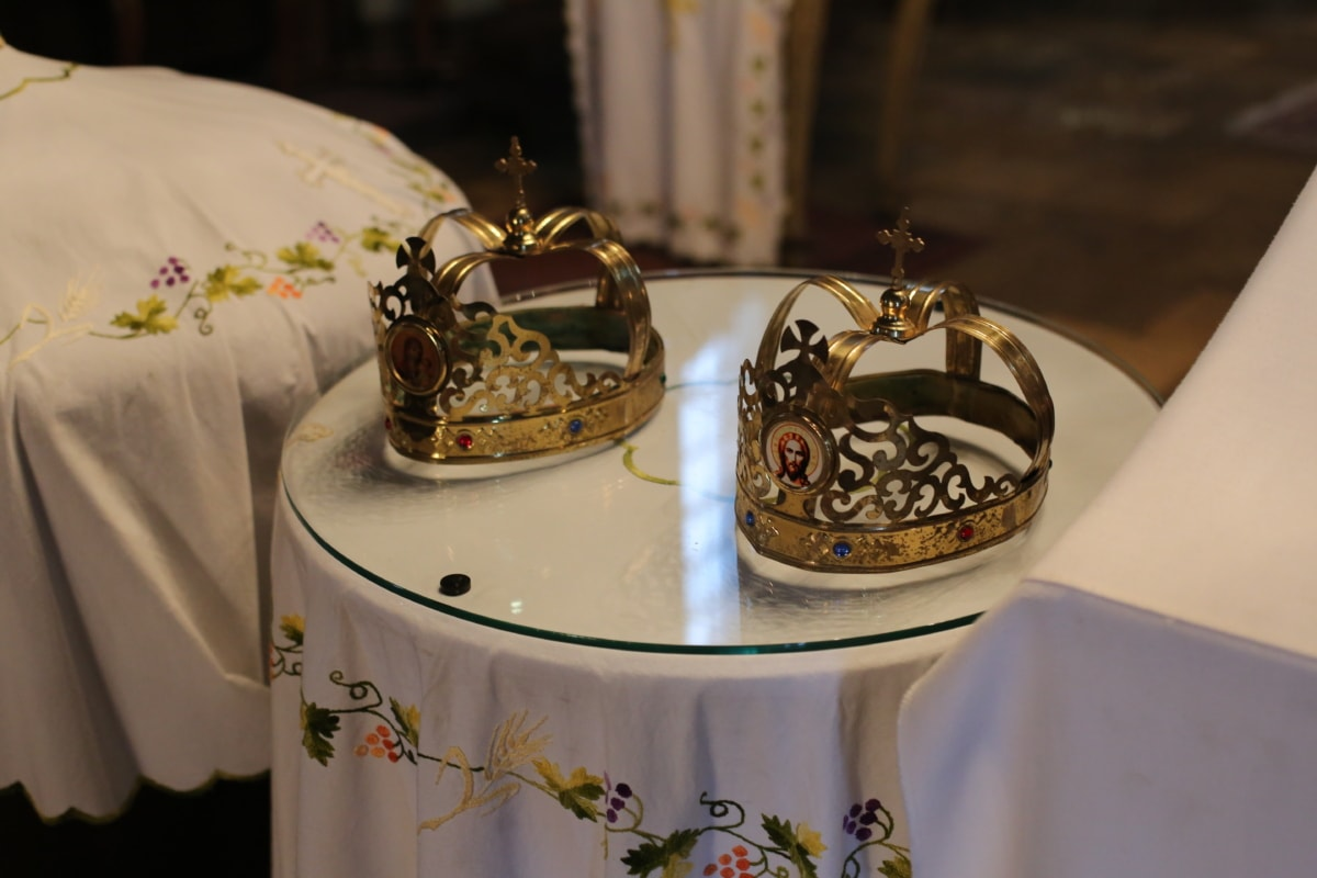 christianity, church, crown, gold, golden glow, marriage, spirituality, tradition, decoration, celebration